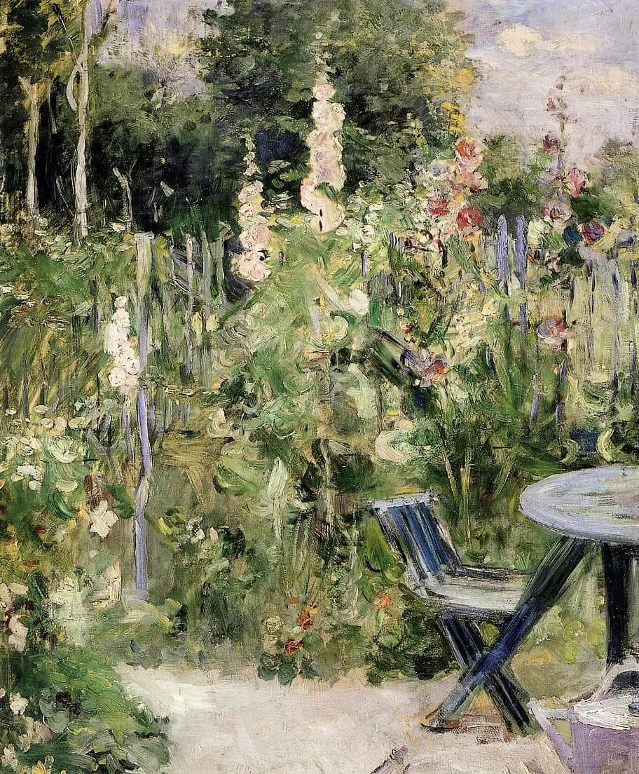 """""""Roses Trémières (Stockrosen)"""" von Berthe Morisot"""
